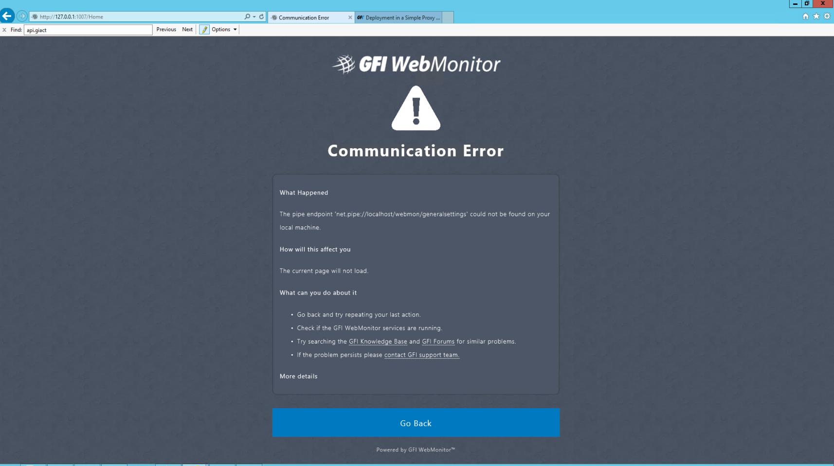 WebMonitor - Communication error